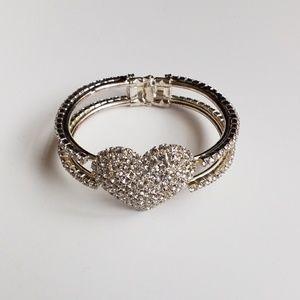 Jewelry - Fashion Imitation Diamond Heart Cuff Bracelet